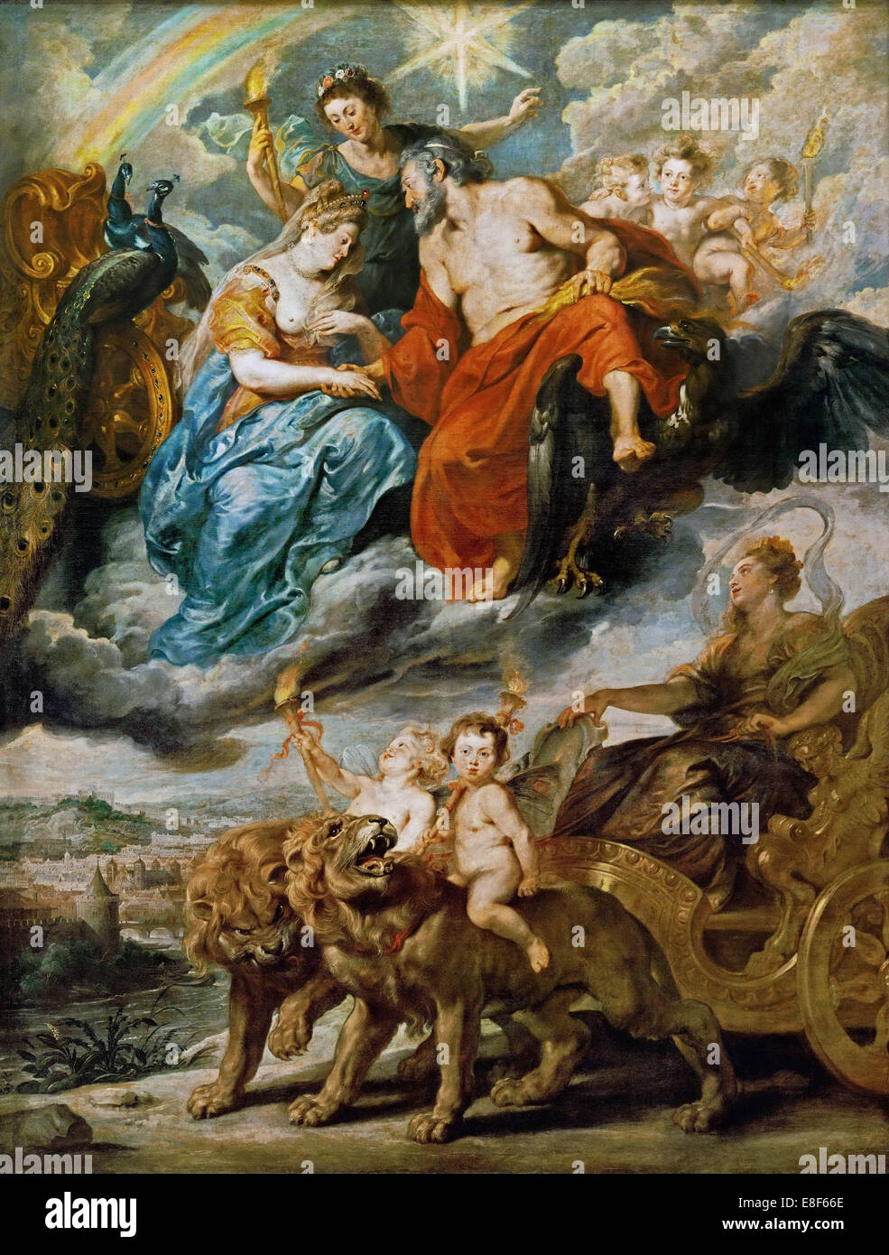 The Meeting of Marie de' Medici and Henry IV at Lyons (The Marie de' Medici Cycle). Artist: Rubens, Pieter - Stock Image