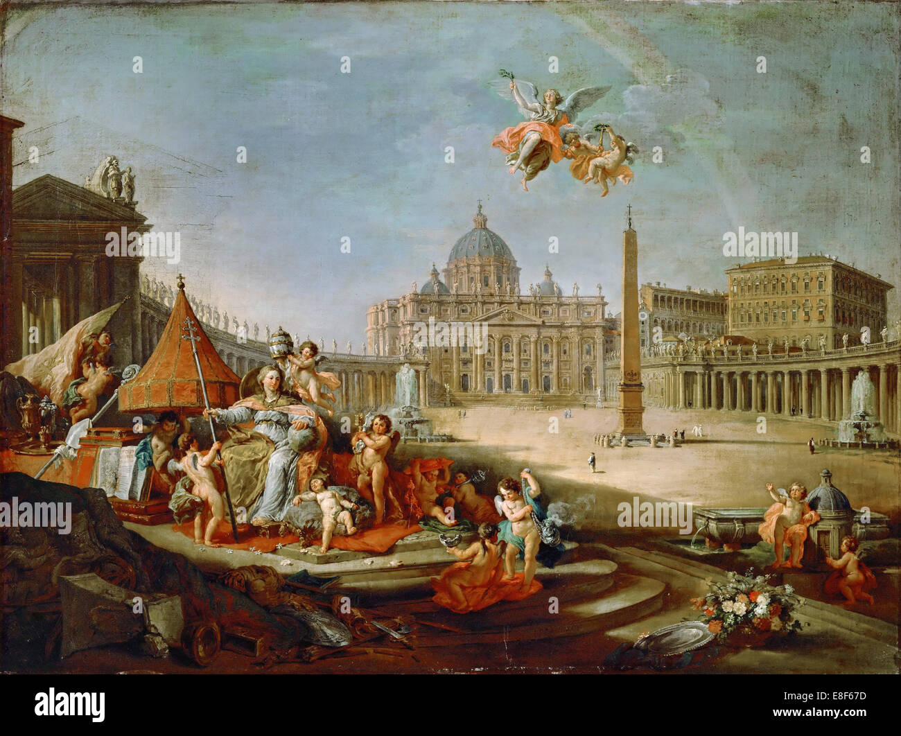 Piazza San Pietro, Rome with an allegory of the Triumph of the Papacy. Artist: Panini, Giovanni Paolo (1691-1765) - Stock Image