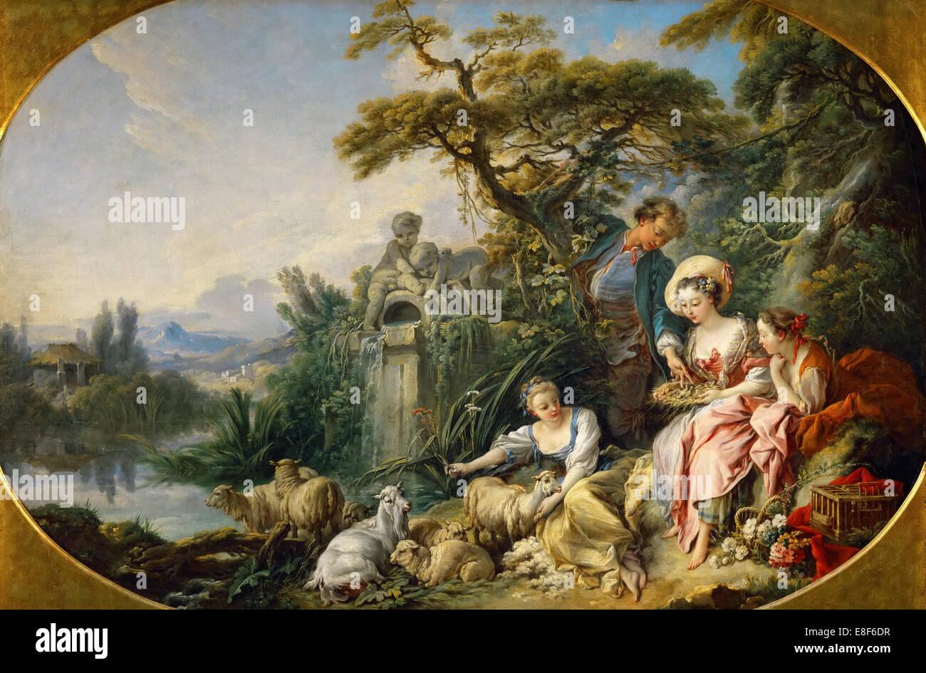 The Shepherd's Presents (The Nest). Artist: Boucher, François (1703-1770) - Stock Image