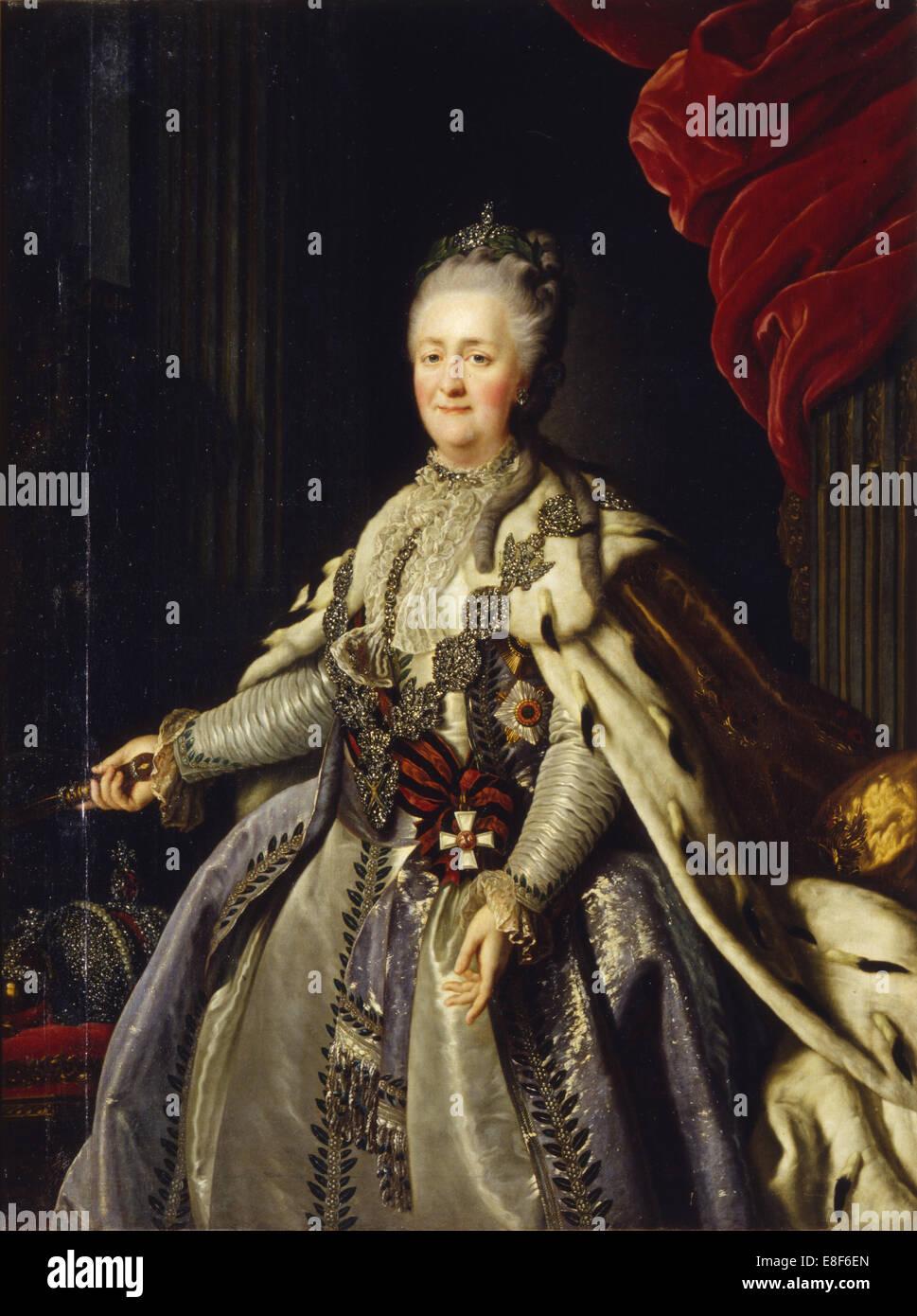 Portrait of Empress Catherine II (1729-1796). Artist: Anonymous - Stock Image