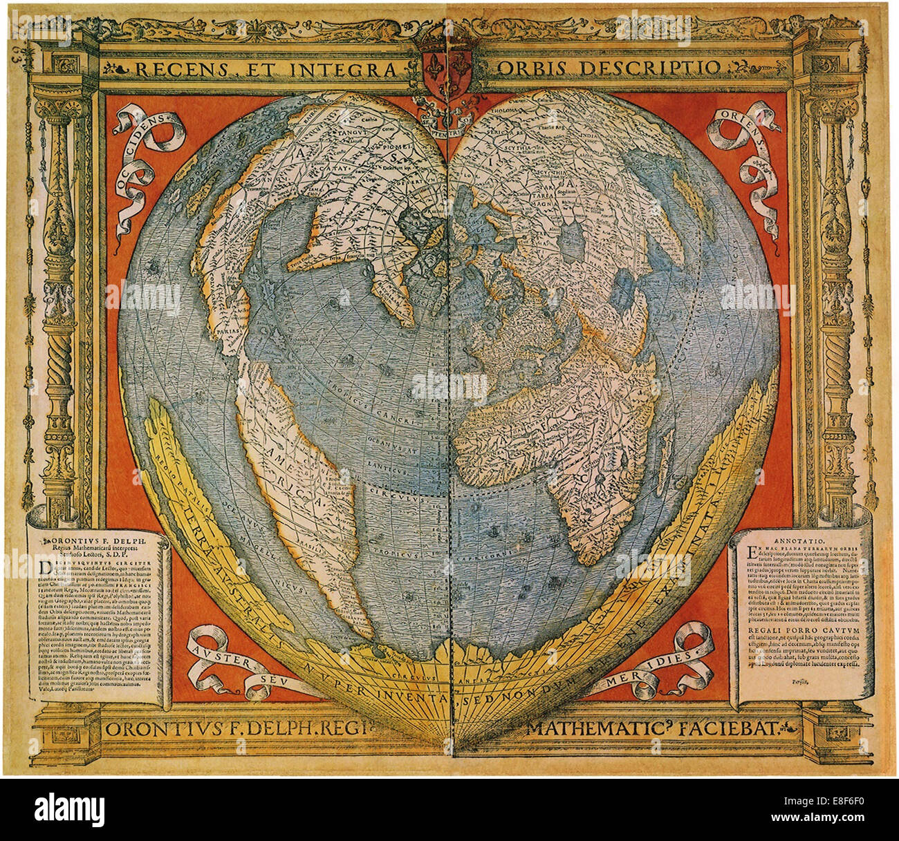 Heart Shaped World Map. Artist: Fine, Oronce (1494-1555) - Stock Image