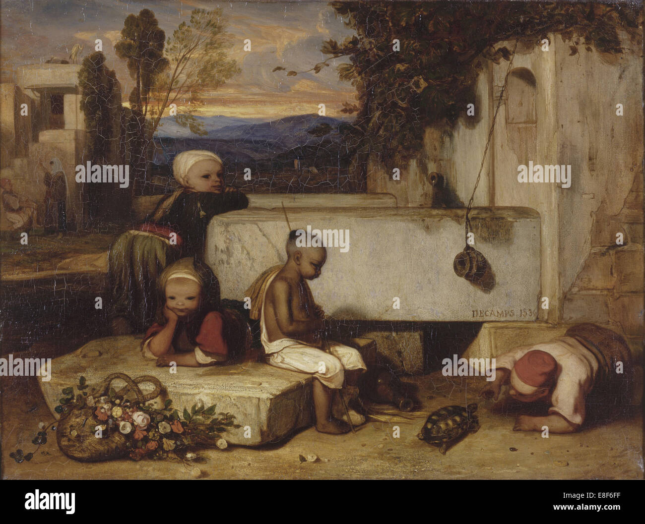 Turkish children playing with a turtle (Souvenir de la Turquie d'Asie). Artist: Decamps, Alexandre Gabriel (1803 - Stock Image
