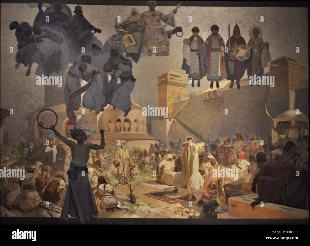 The Introduction of the Slavonic Liturgy (The cycle The Slav Epic). Artist: Mucha, Alfons Marie (1860-1939) - Stock Image