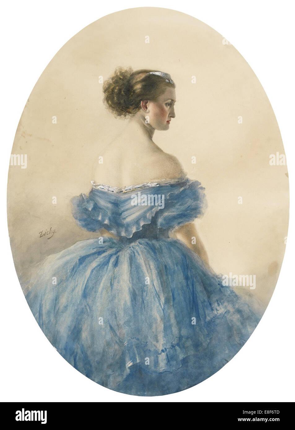 Portrait of Princess Anna zu Sayn-Wittgenstein. Artist: Zichy, Mihály (1827-1906) - Stock Image