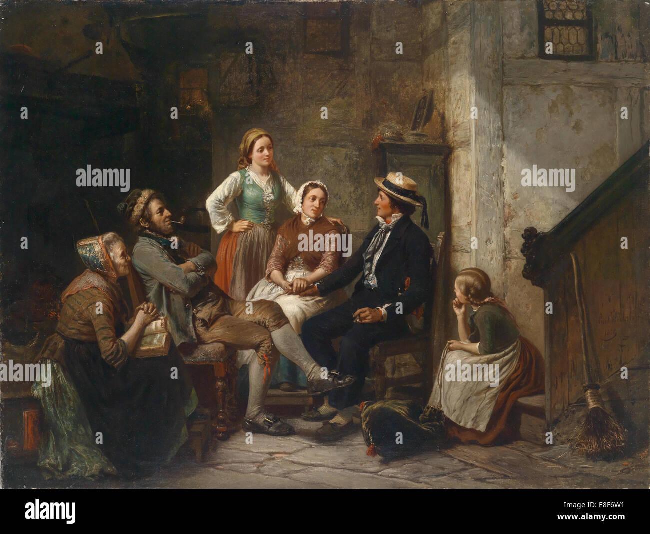 Return of the young sailor. Artist: Huebner, Carl Wilhelm (1814-1879) - Stock Image