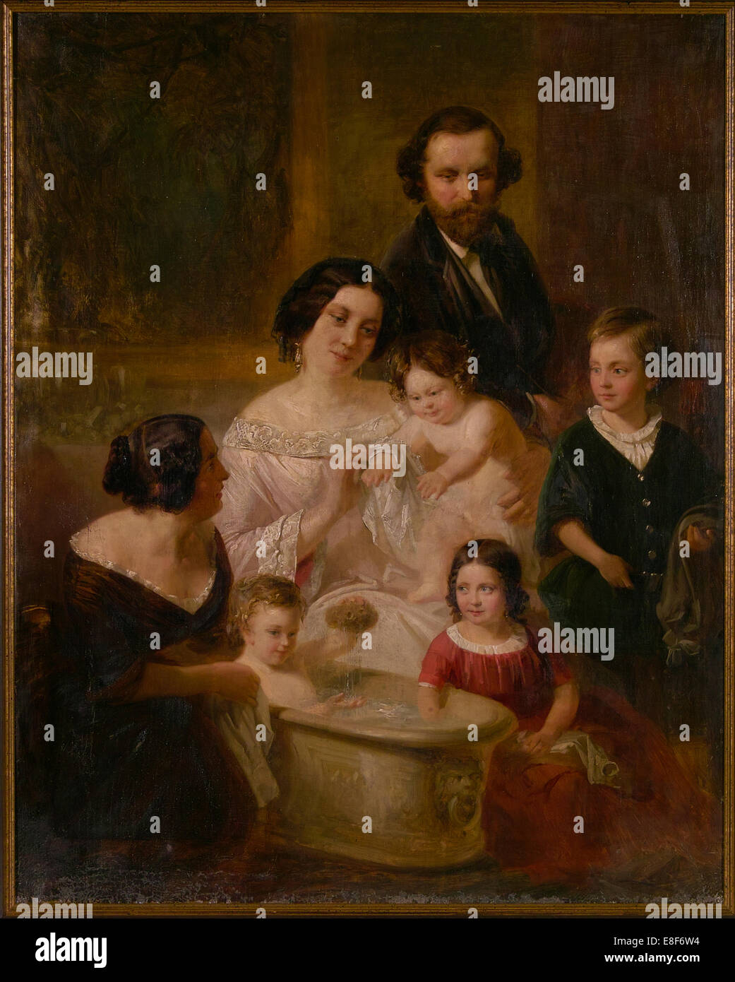 Family portrait. Artist: Wodick, Edmund (1816-1886) - Stock Image