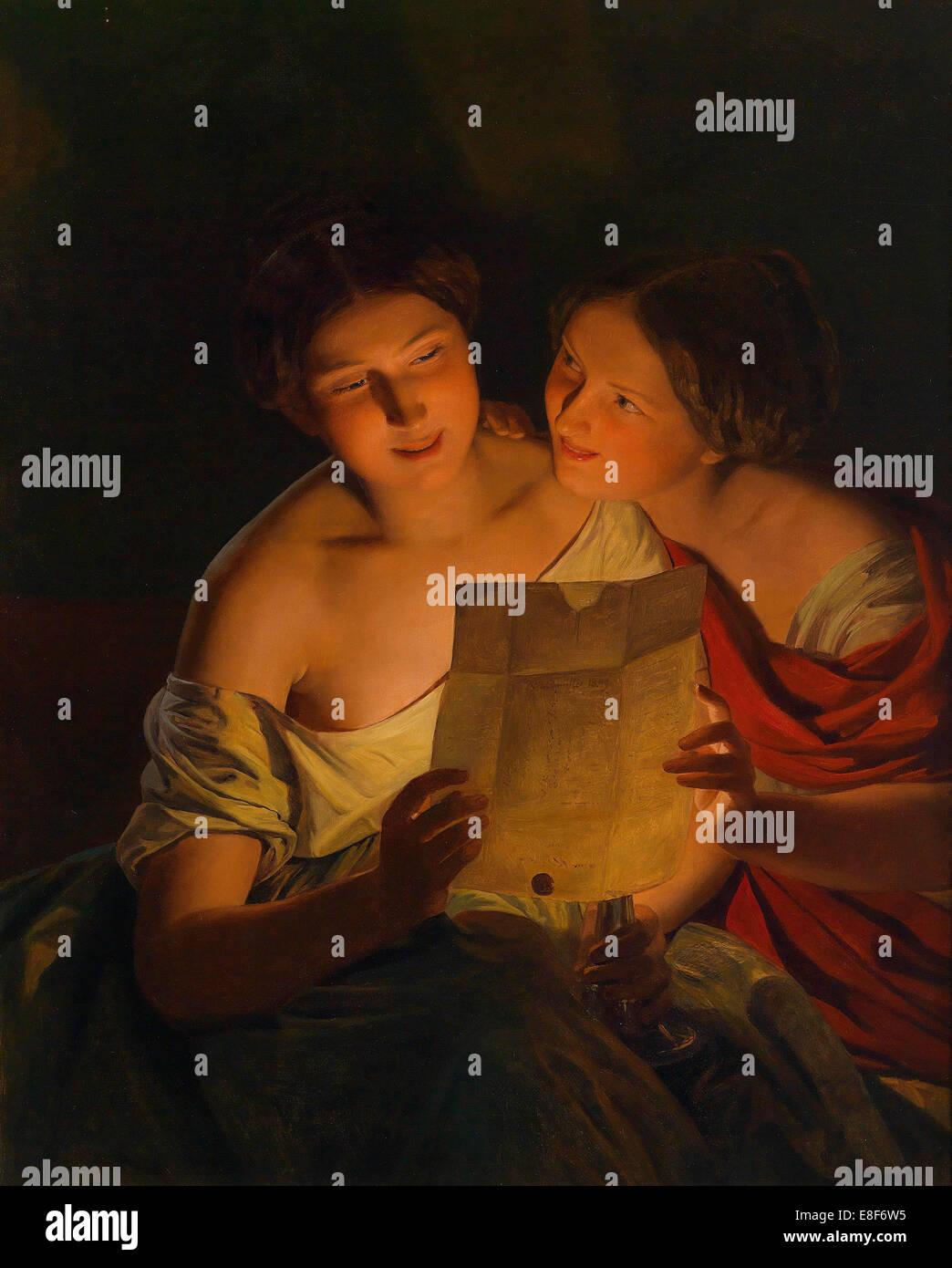 Love letter. Artist: Waldmüller, Ferdinand Georg (1793-1865) - Stock Image