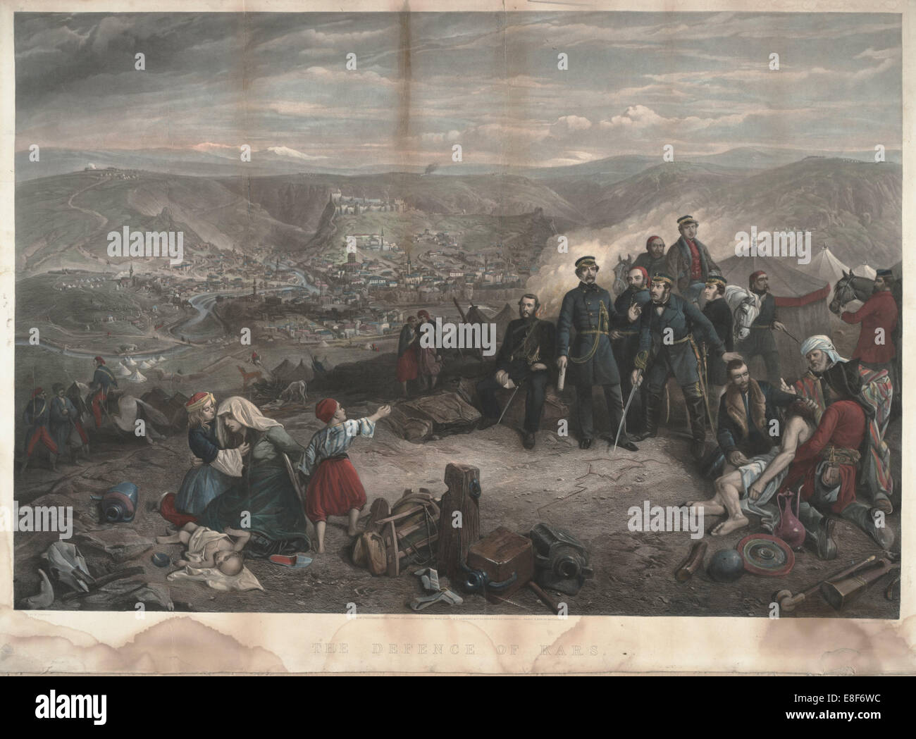 The defence of Kars. Artist: Simpson, William (1832-1898) - Stock Image