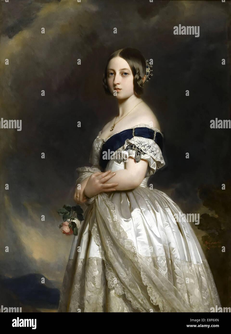 Portrait of Queen Victoria. Artist: Winterhalter, Franz Xavier (1805-1873) - Stock Image