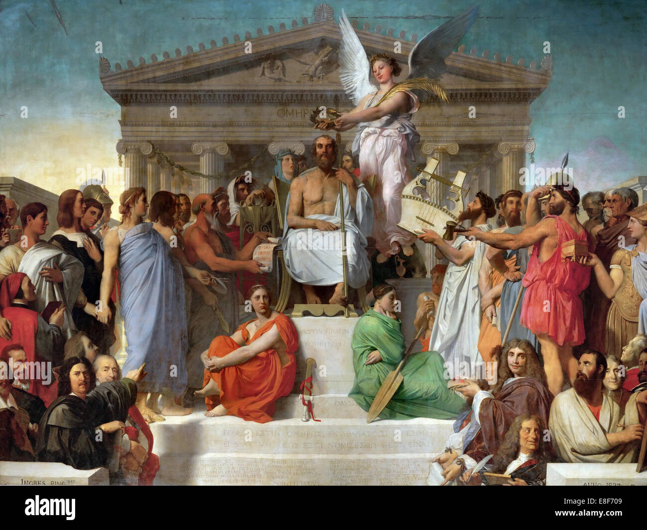 The Apotheosis of Homer. Artist: Ingres, Jean Auguste Dominique (1780-1867) - Stock Image