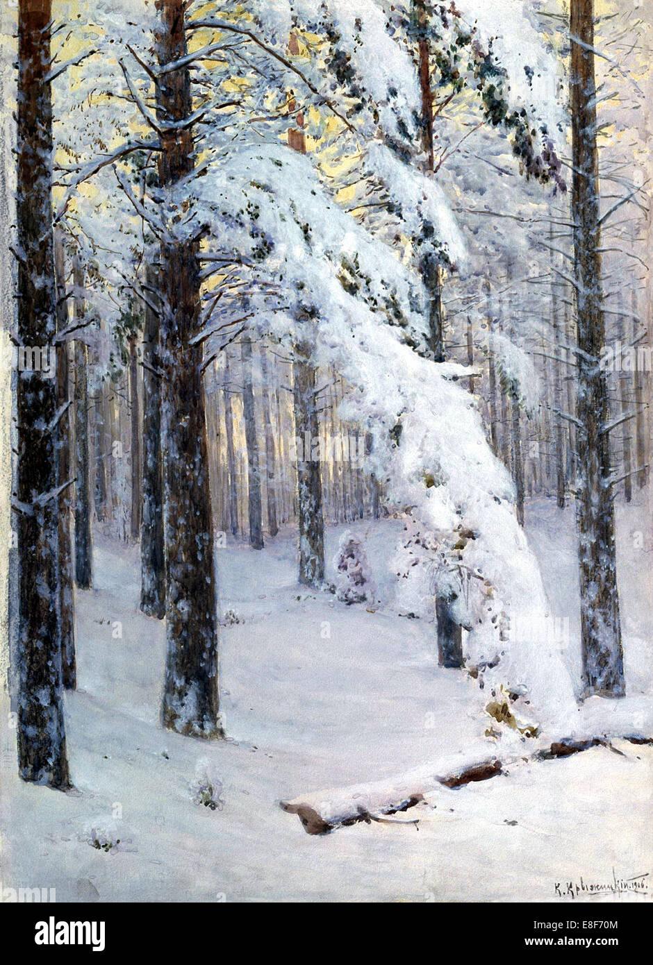 Winter Forest. Artist: Kryzhitsky, Konstantin Yakovlevich (1858-1911) - Stock Image