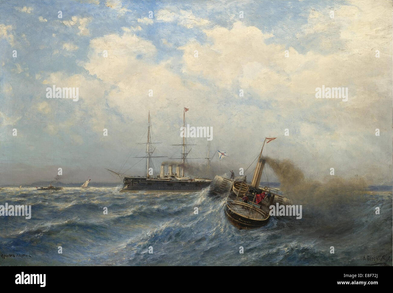 Pilot boarding. Artist: Bogolyubov, Alexei Petrovich (1824-1896) - Stock Image