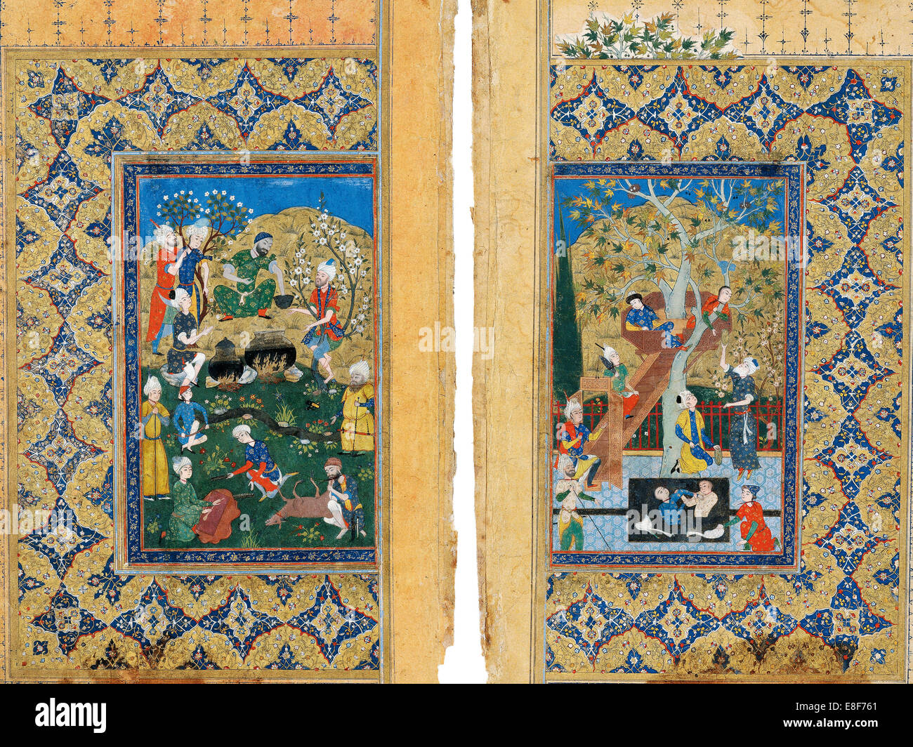 Picnic. Miniature from Yusuf and Zalikha (Legend of Joseph and Potiphar's Wife) by Jami. Artist: Iranian master - Stock Image