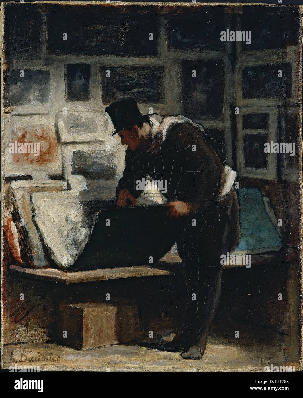 The Prints Collector. Artist: Daumier, Honoré (1808-1879) - Stock Image