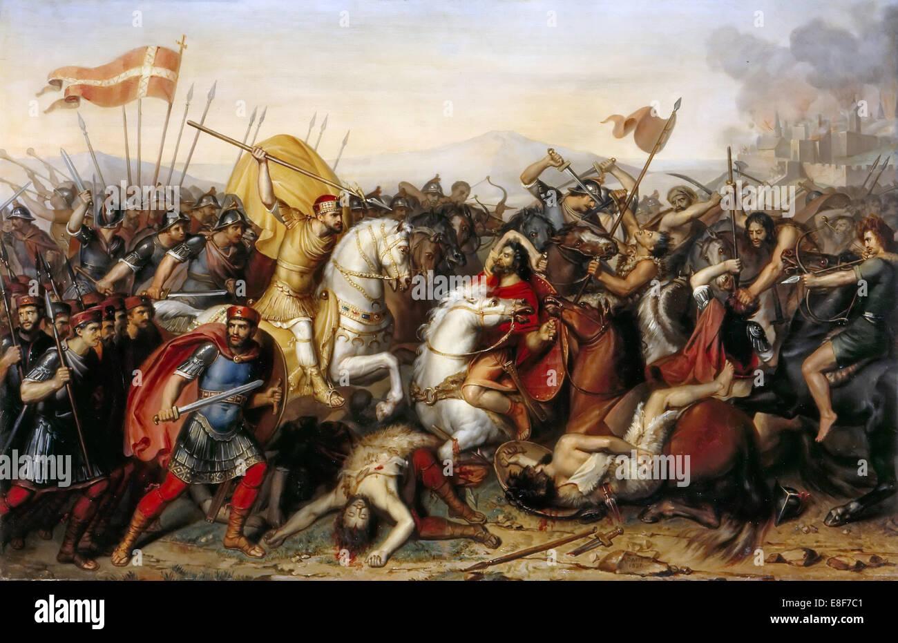 The Battle of Saucourt-en-Vimeu on 3 August 881. Artist: Dassy, Jean-Joseph (1791-1865) - Stock Image