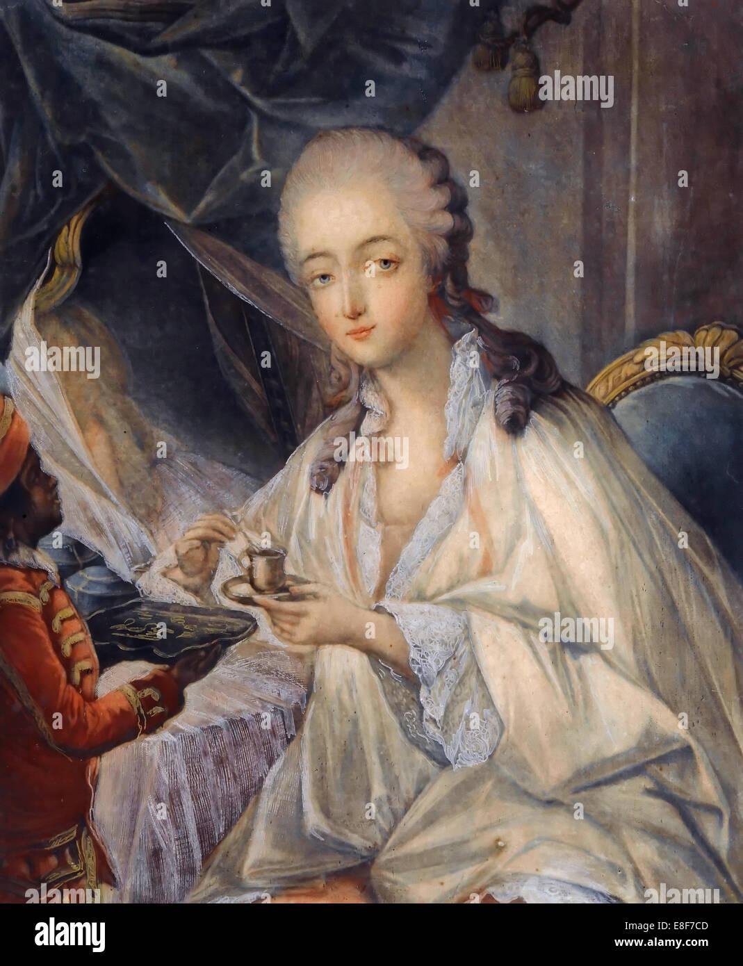 Jeanne Bécu, comtesse Du Barry (1743-1793) with a cup of coffee. Artist: Gautier Dagoty, Jean-Baptiste André - Stock Image
