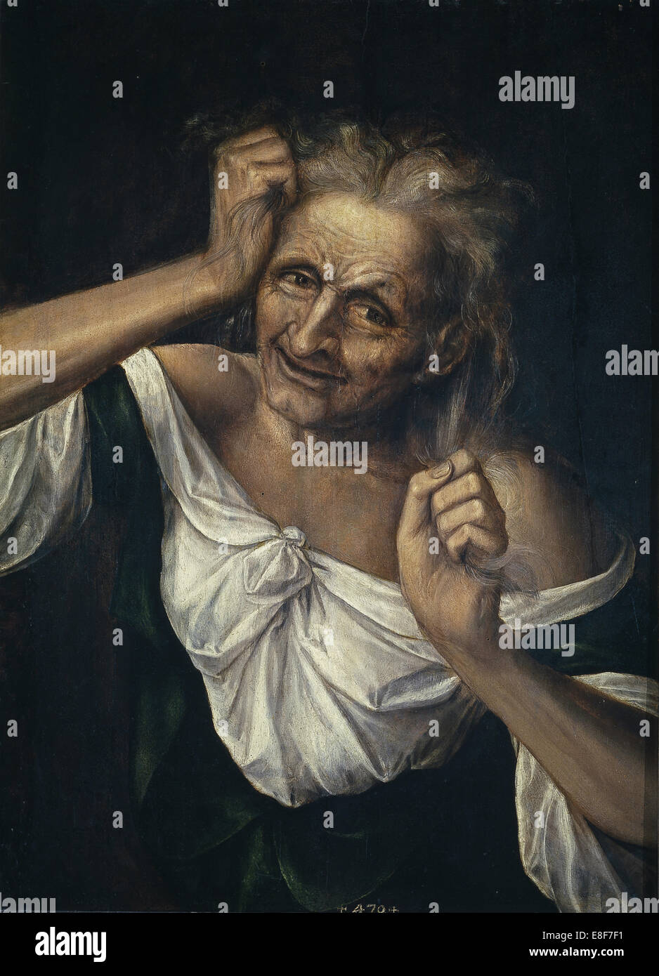 Old Woman Tearing at her Hair. Artist: Massys, Quentin (1466?1530) - Stock Image
