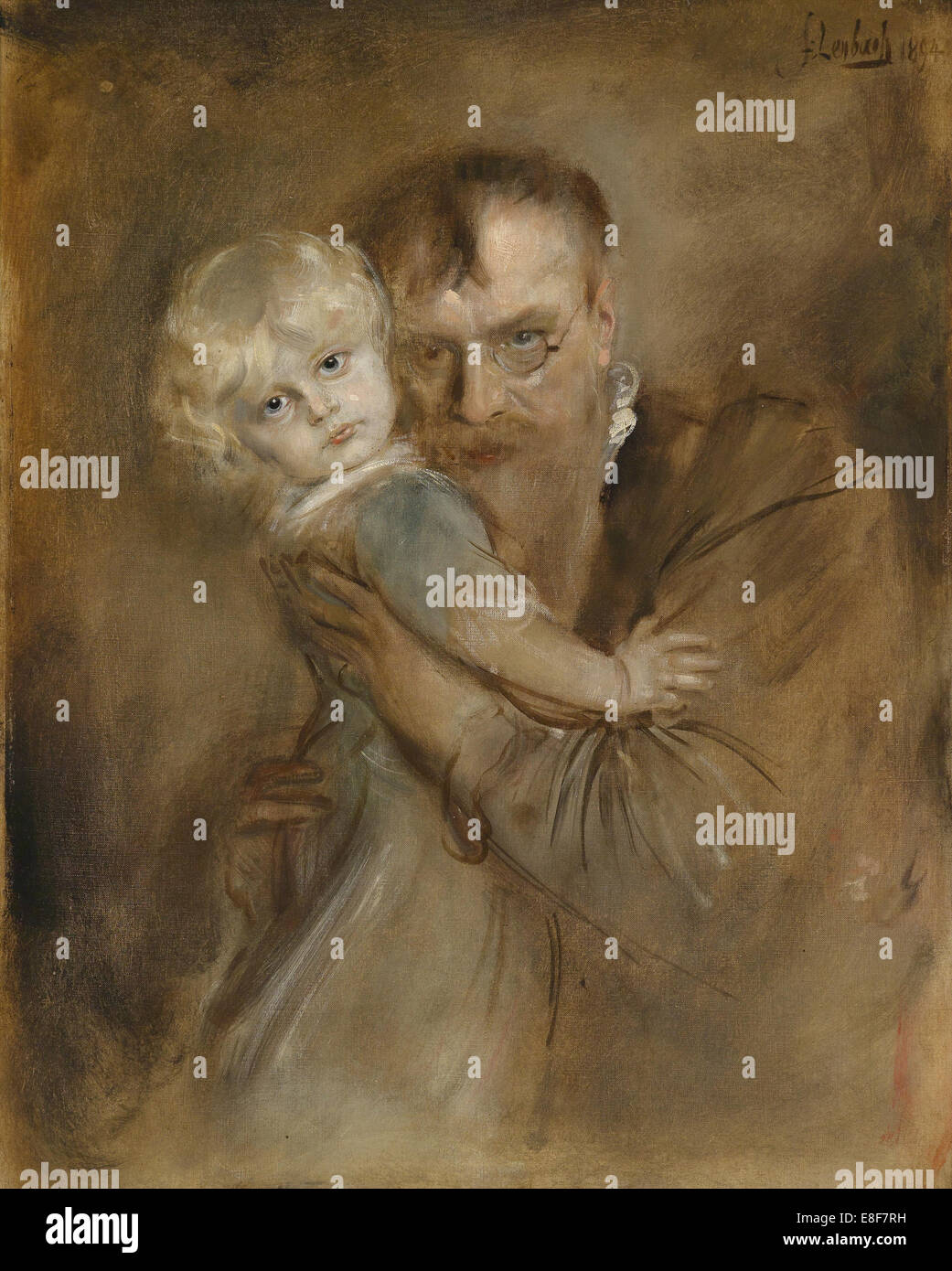 Self-portrait with Daughter Marion. Artist: Lenbach, Franz, von (1836-1904) - Stock Image