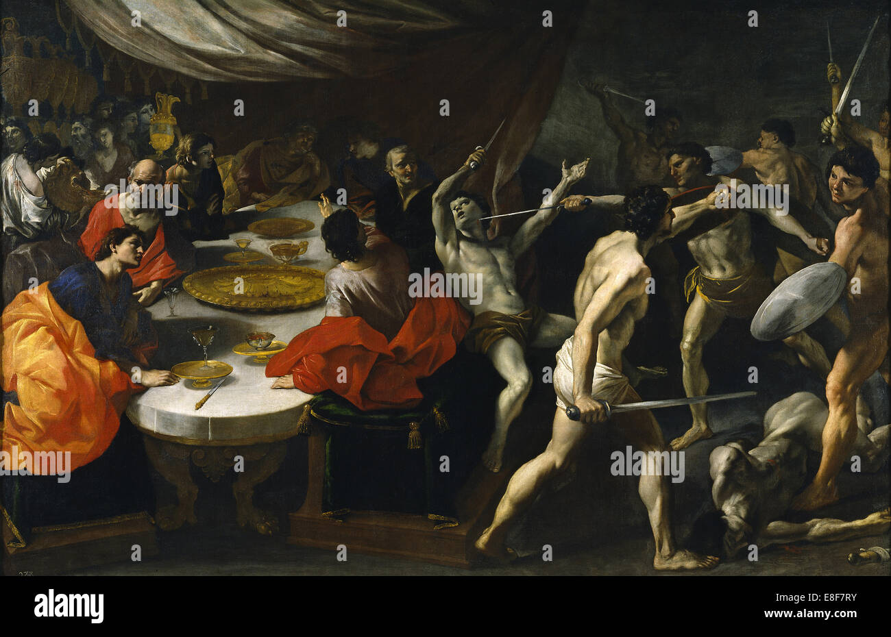 Gladiator fights at a Banquet. Artist: Lanfranco, Giovanni (1582-1647) - Stock Image