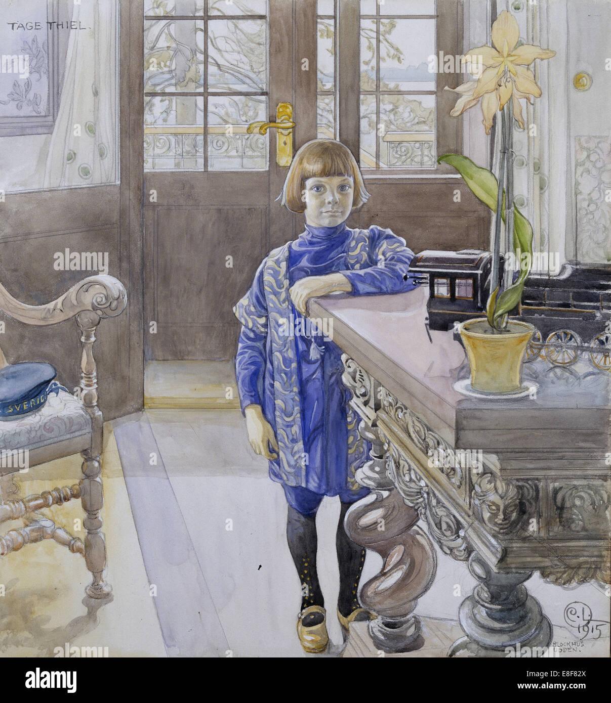 Portrait of Tage Thiel. Artist: Larsson, Carl (1853-1919) - Stock Image