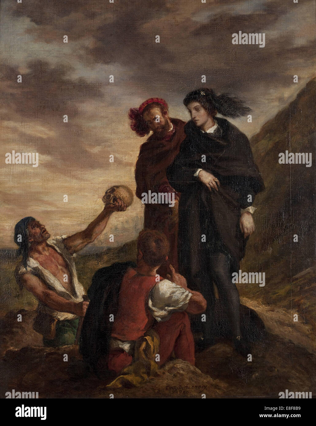 Hamlet and Horatio in the Graveyard. Artist: Delacroix, Eugène (1798-1863) - Stock Image