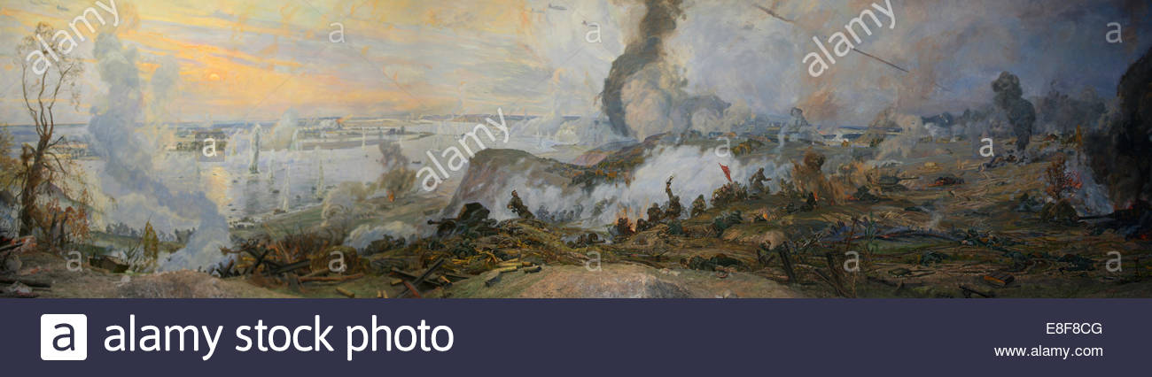 The Battle of the Dnieper (Diorama). Artist: Dmitrievsky, Viktor Konstantinovich (*1923) - Stock Image