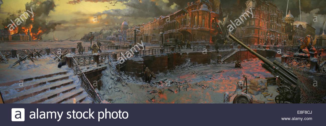 The Siege of Leningrad (Diorama). Artist: Korneev, Yevgeny Alexeevich (*1951) - Stock Image