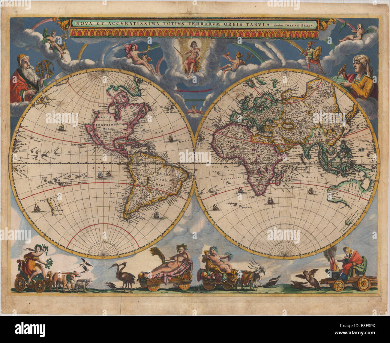 Blaeu World Map.Double Hemisphere Map Of The World Artist Blaeu Joan 1596 1673