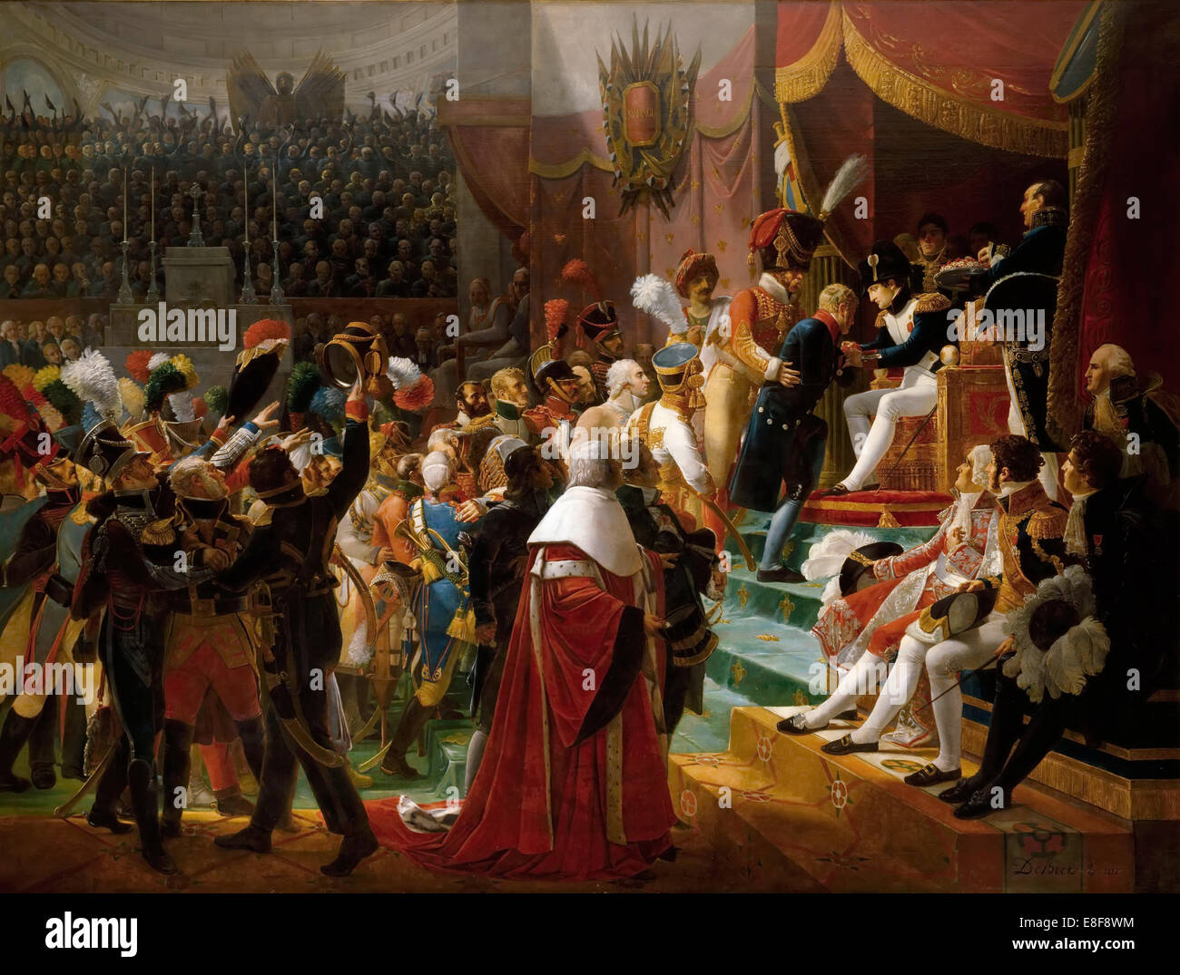 First remittance of the Legion of Honour, 15 July 1804, at Saint-Louis des Invalides. Artist: Debret, Jean-Baptiste - Stock Image