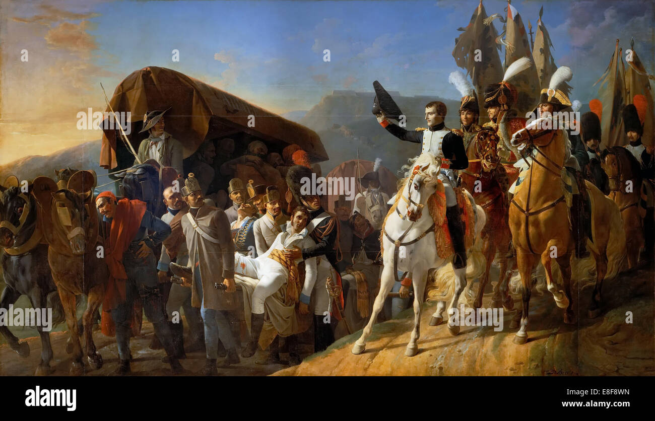 Napoleon Pays Homage to the Courage of the Wounded. Artist: Debret, Jean-Baptiste (1768-1848) - Stock Image