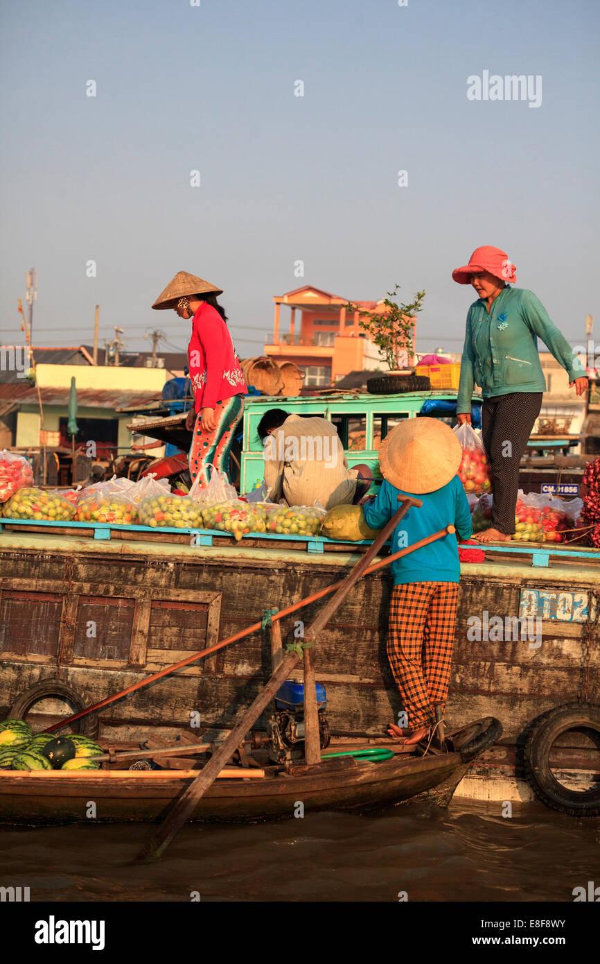 Vietnam, Mekong Delta, Can Tho, Cai Rang Floating Market - Stock Image