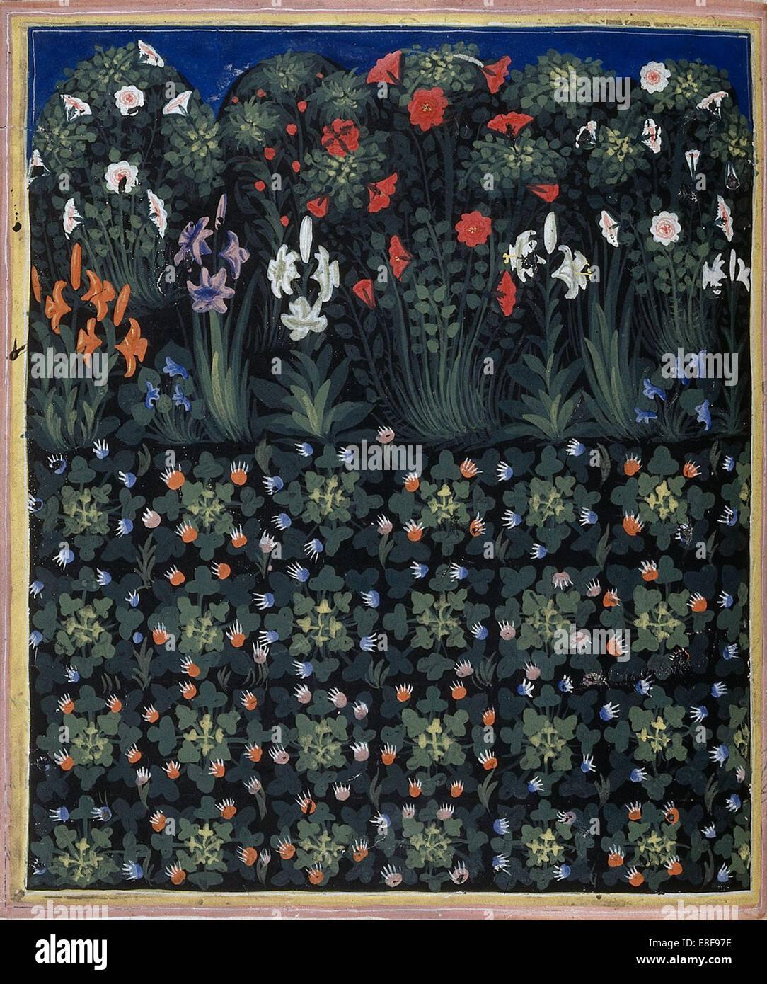 Garden (From Regia Carmina by Convenevole da Prato). Artist: Pacino di Buonaguida (active 1302-1343) - Stock Image