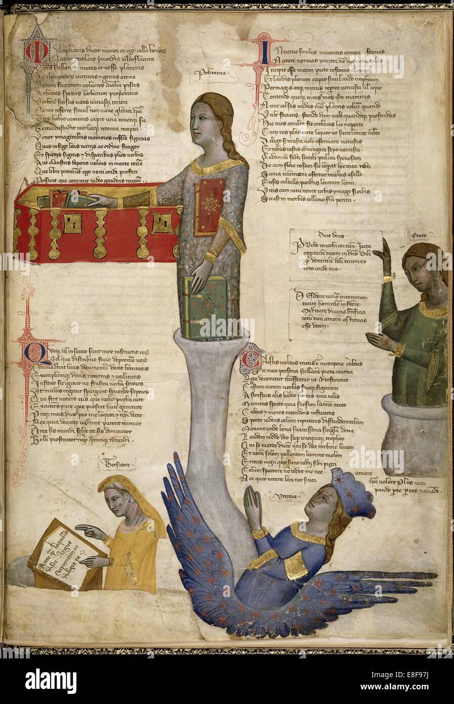 Four Muses (From Regia Carmina by Convenevole da Prato). Artist: Pacino di Buonaguida (active 1302-1343) Stock Photo