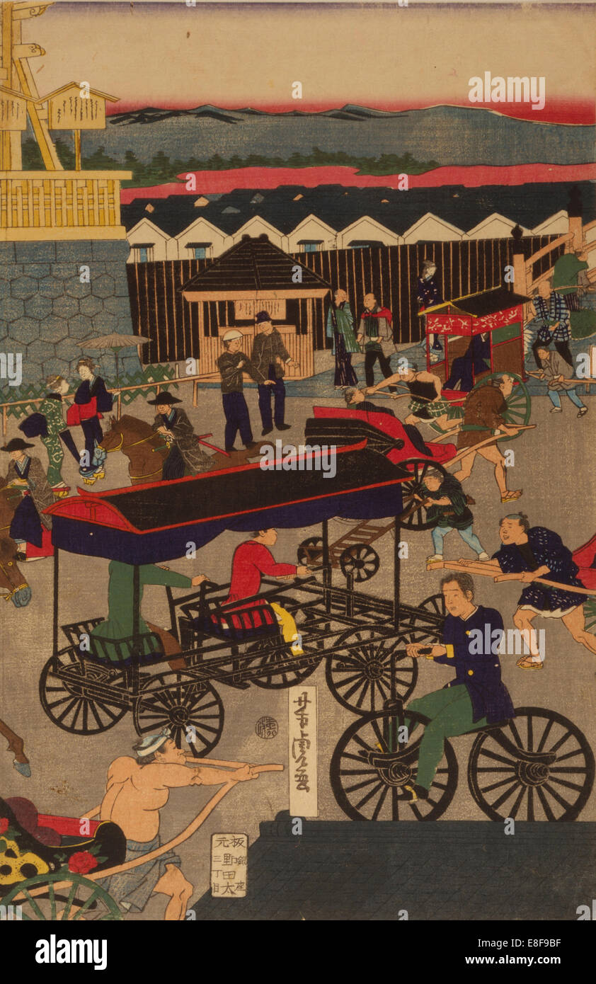 Flourishing Nihonbashi section of Tokyo. (Tokyo Nihonbashi han ei no zu) Triptych. Artist: Yoshitora, Utagawa (active - Stock Image