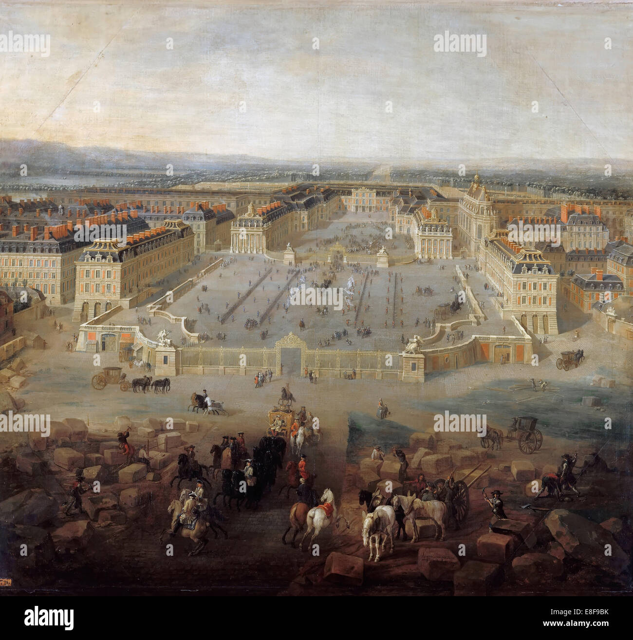 View of the palace of Versailles from the Place d'Armes in 1722. Artist: Martin, Pierre-Denis II (1663-1742) Stock Photo