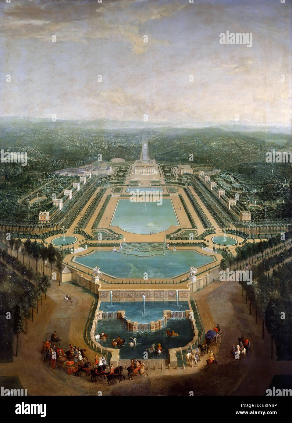 General view of the chateau and gardens at Marly, around 1724. Artist: Martin, Pierre-Denis II (1663-1742) - Stock Image