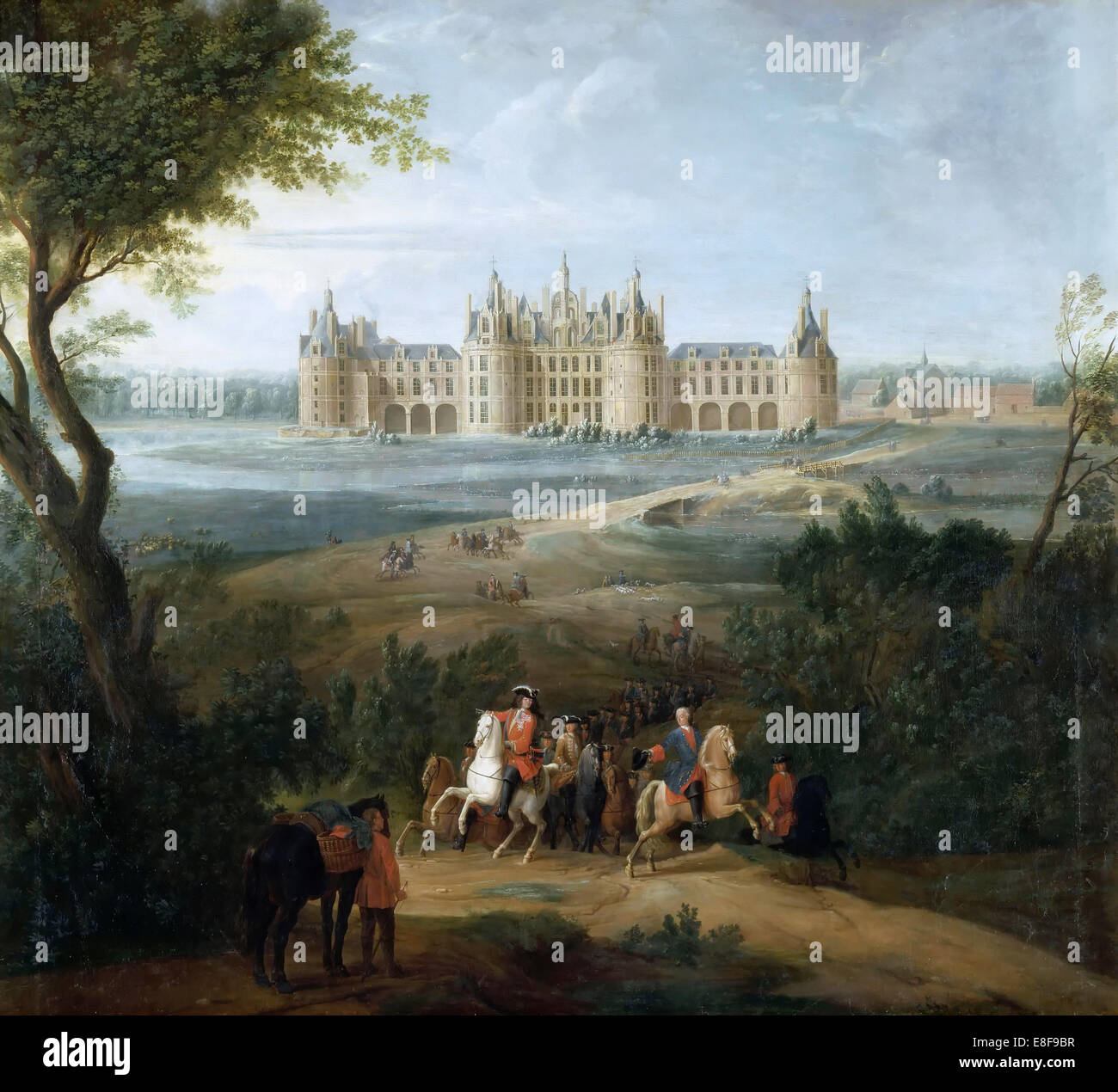 View of the château de Chambord, from the park. Artist: Martin, Pierre-Denis II (1663-1742) - Stock Image