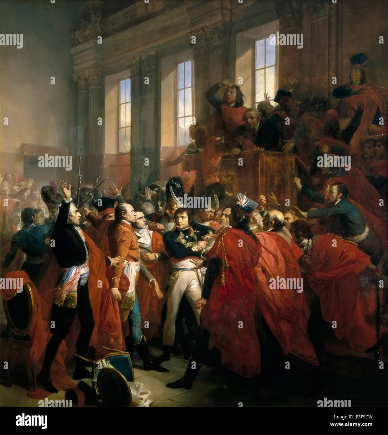 General Bonaparte surrounded by members of the Council of Five Hundred in Saint-Cloud, November 10,  Artist: Bouchot, - Stock Image