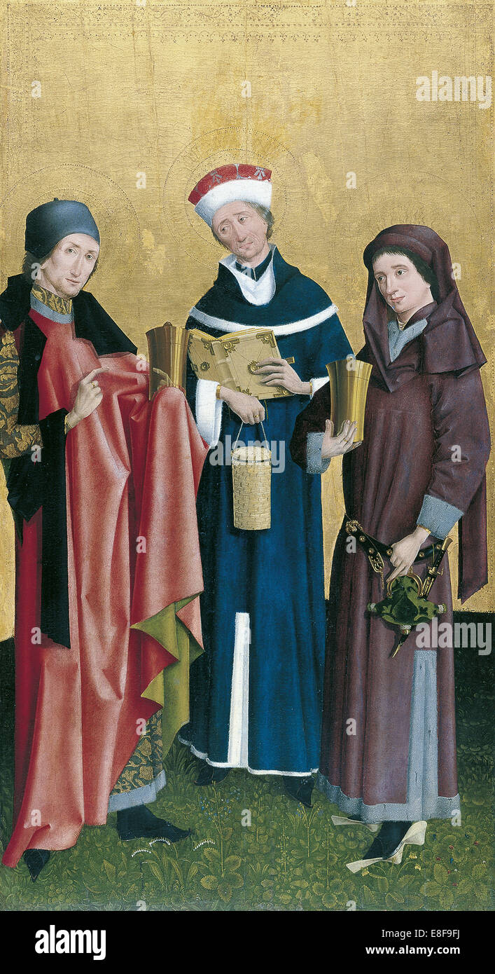 Saints Cosmas, Damian and Pantaleon. Artist: Master of Cologne (active ca 1500) - Stock Image