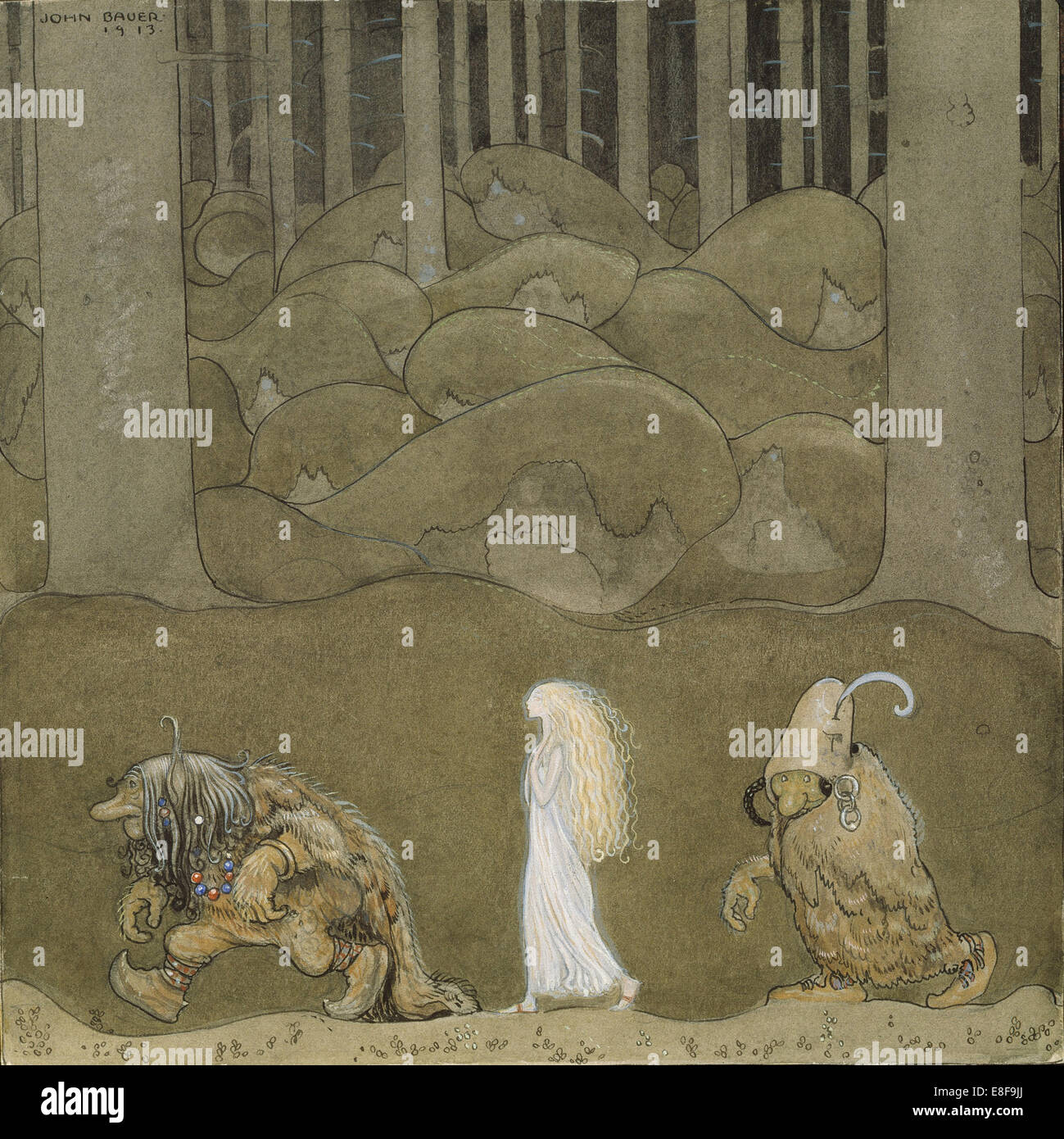 The Princess and the Trolls. Artist: Bauer, John (1882-1918) - Stock Image