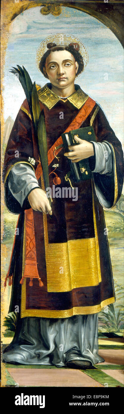 Saint Stephen. Artist: Zenale, Bernardo (1464-1526) - Stock Image