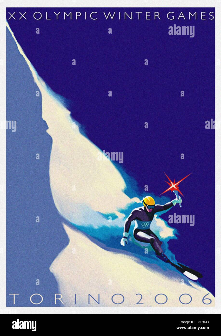 Official poster for the XX Olympic Winter Games 2006 in Turin. Artist: Riboli, Stefano - Stock Image
