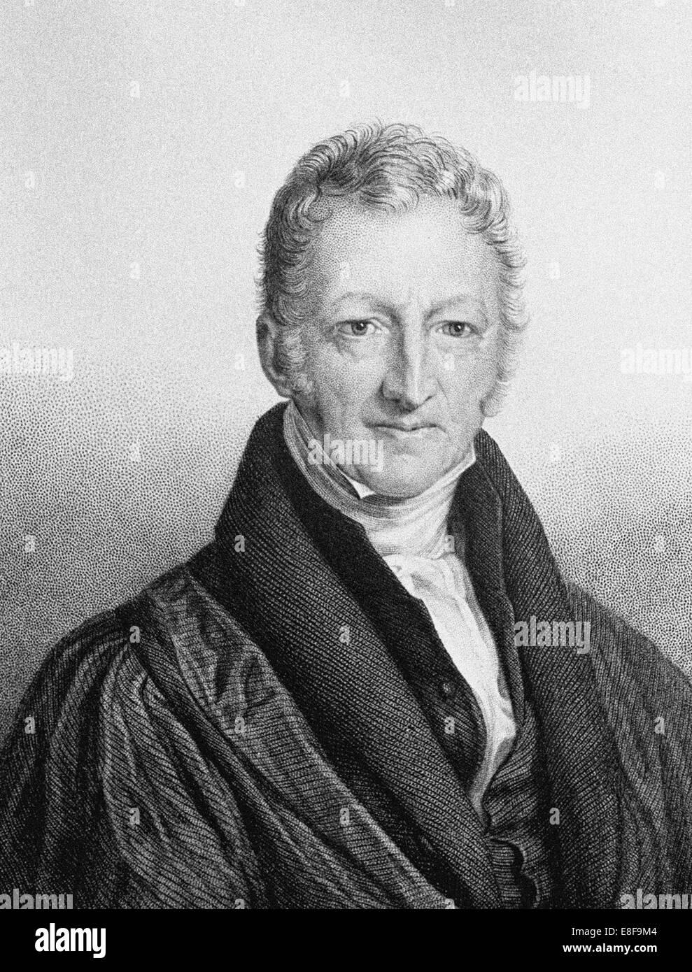 Portrait of Thomas Robert Malthus (1766-1834). Artist: Linnell, John (1792-1882) - Stock Image