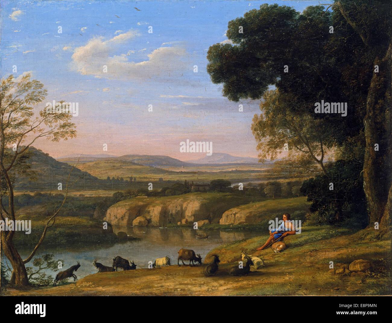 River landscape with Goatherd. Artist: Lorrain, Claude (1600-1682) - Stock Image