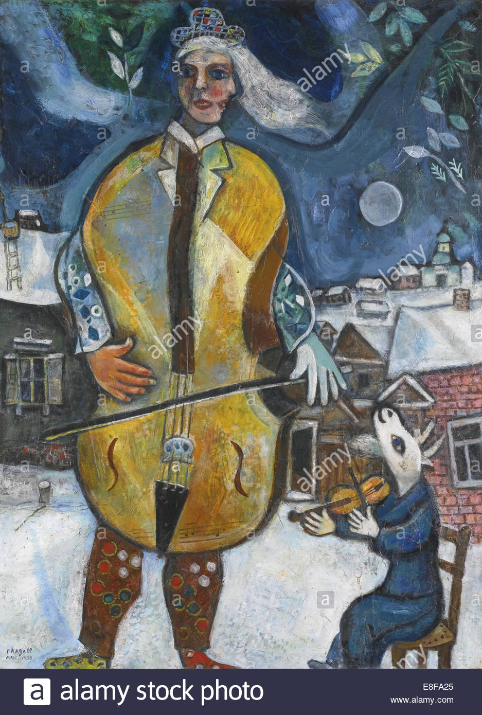 The Cellist. Artist: Chagall, Marc (1887-1985) - Stock Image