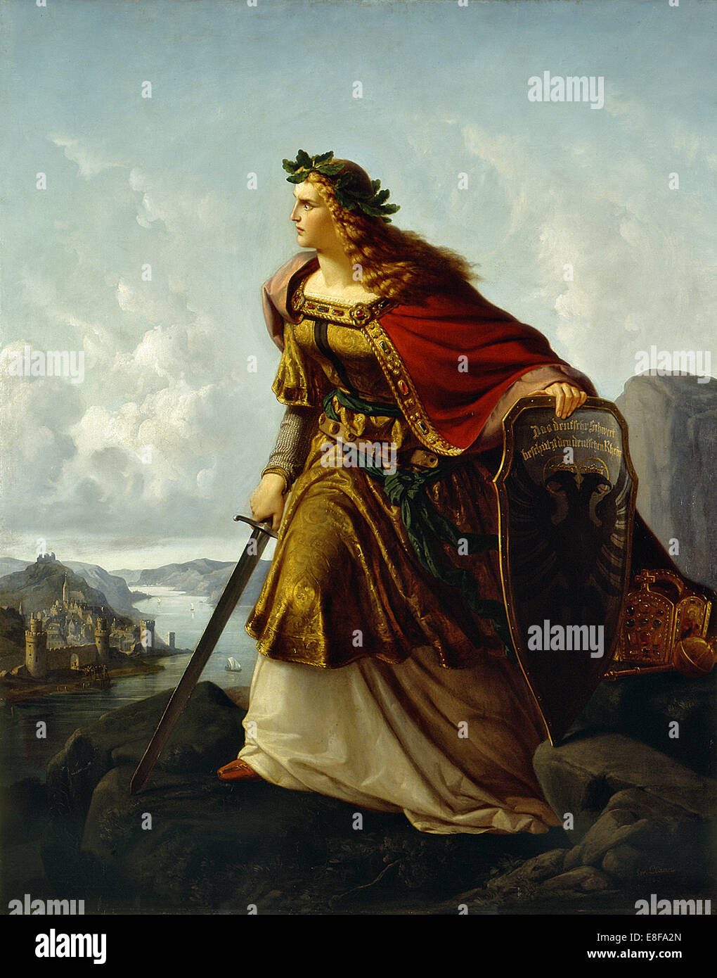 Germania at the Watch on the Rhine. Artist: Clasen, Lorenz (1812-1899) - Stock Image