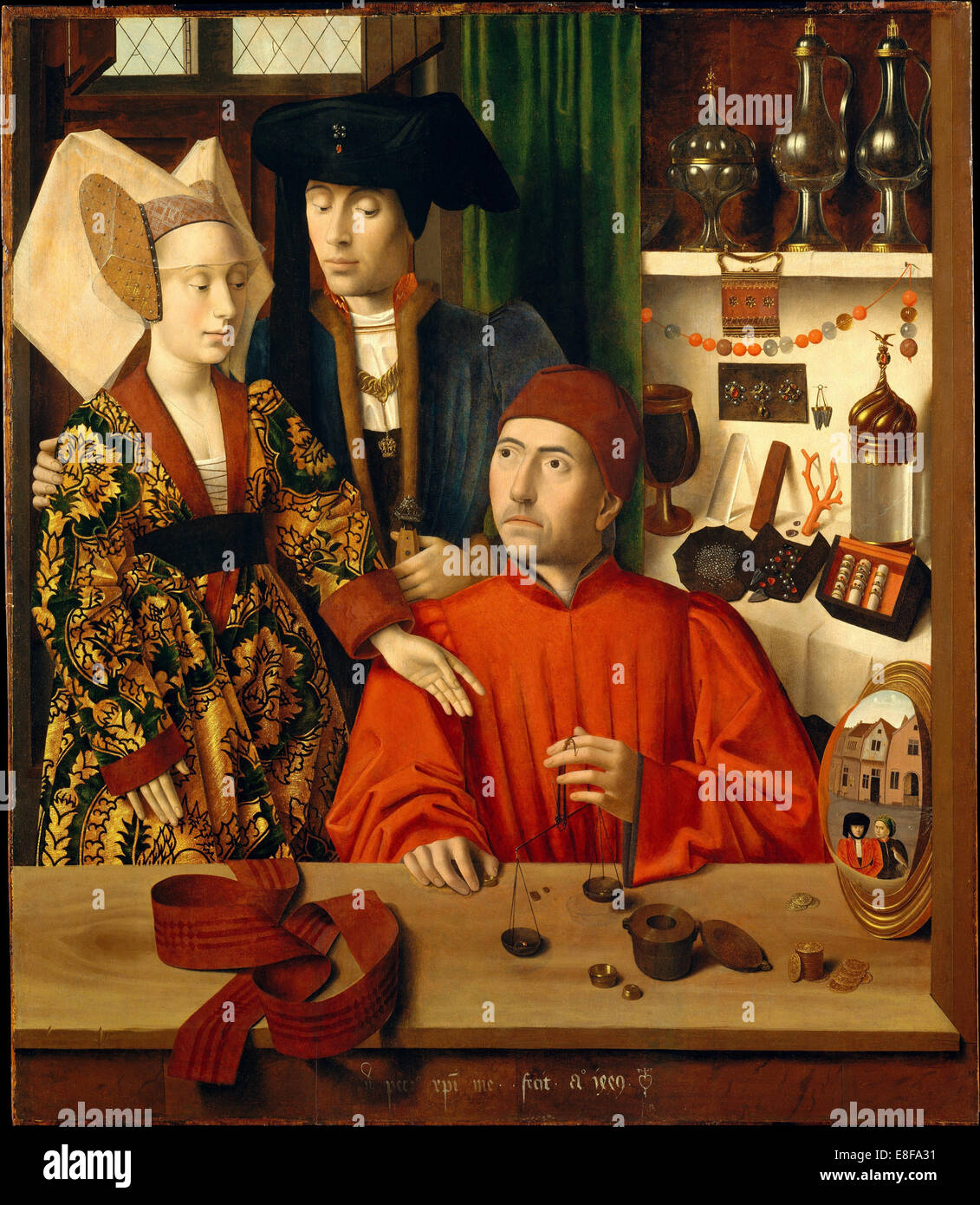 A Goldsmith in his Shop. Artist: Christus, Petrus (1410/20-1475/76) - Stock Image