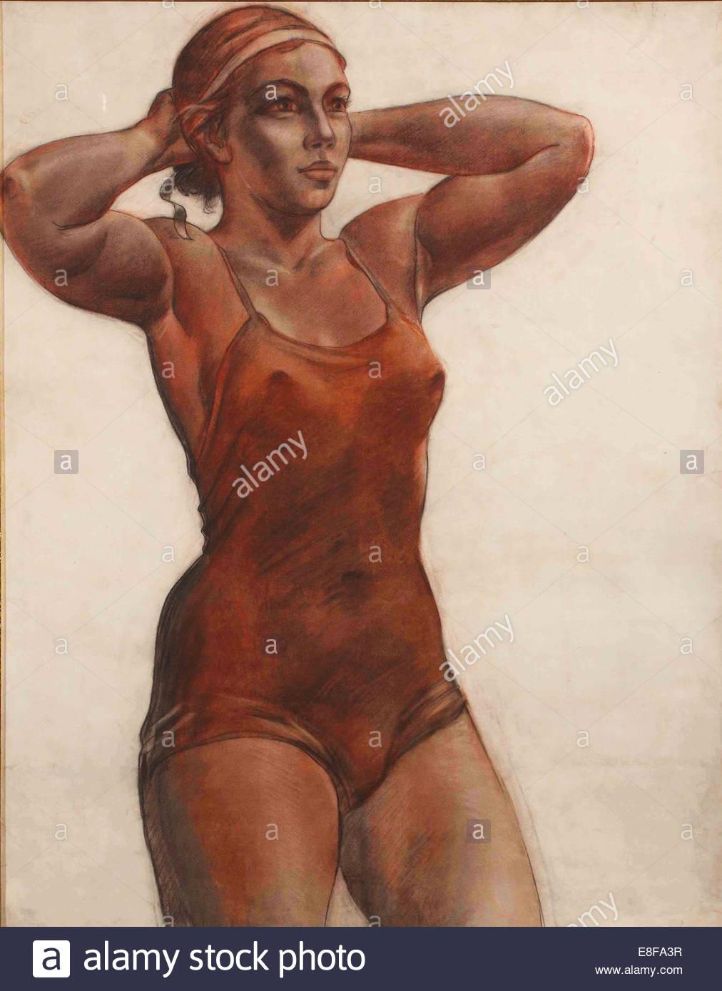 Sports woman. Artist: Deineka, Alexander Alexandrovich (1899-1969) - Stock Image