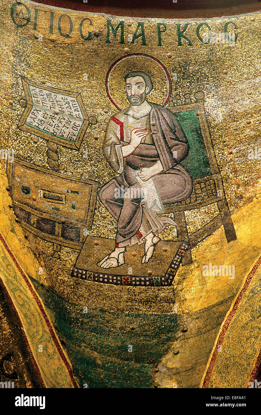 Saint Mark the Evangelist. Artist: Byzantine Master - Stock Image