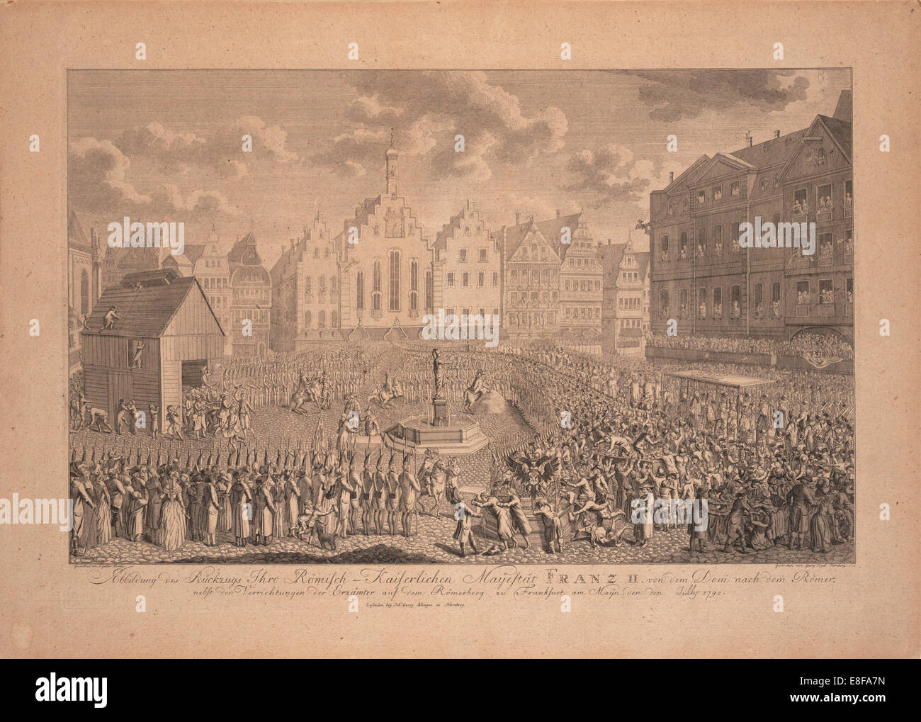 The coronation procession of Francis II from the Frankfurt Cathedral to Römerberg in July 1792. Artist: Gabler, - Stock Image